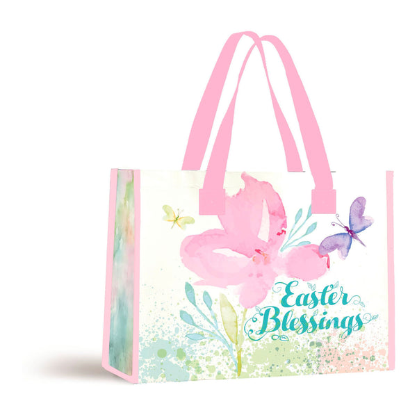 "Celebrate the Easter season with our Watercolor Easter Blessings Color tote. This reusable shopping bag measures 16"" x 13.5"" x 7"" and holds up to 20 pounds. Features an inspirational message: Easter Blessings."