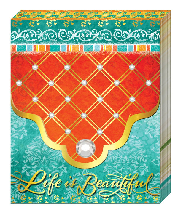 Oak Patch Gifts Purse Pad: Teal/Orange Life is Beautiful