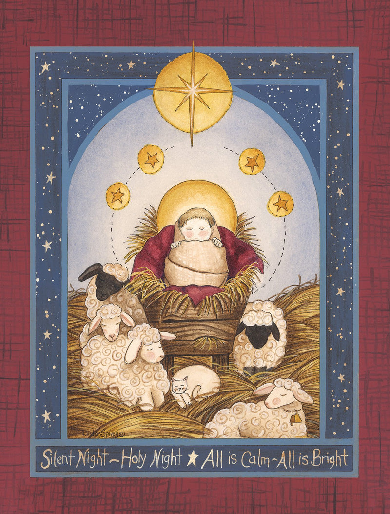 Divinity Boutique Boxed Christmas Cards: Silent Night Creche Scene With Star And Sheep