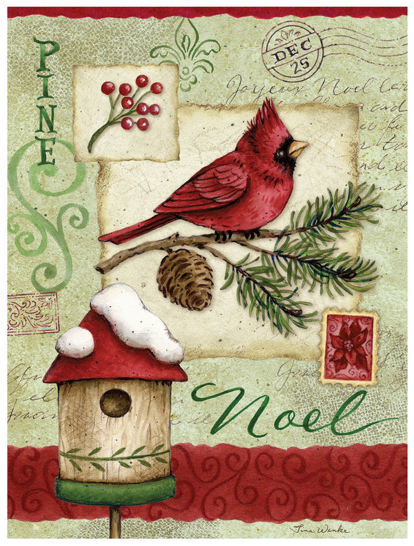 Divinity Boutique Boxed Christmas Cards: Noel Cardinal And Birdhouse
