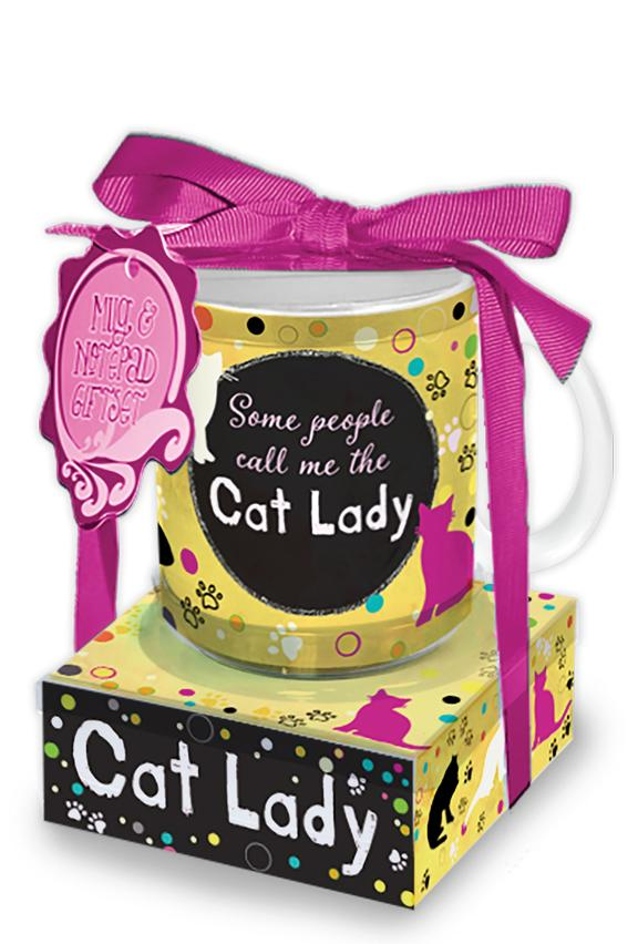 Oak Patch Gifts Mug & Note Stack: Cat Lady
