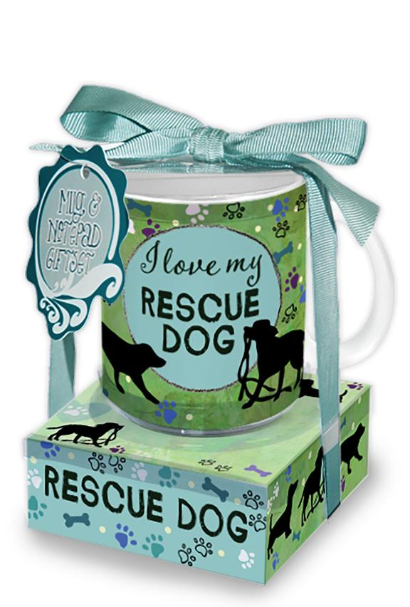 Oak Patch Gifts Mug & Note Stack: Rescue Dog