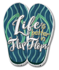Oak Patch Gifts Coastal: Wooden Magnet: Life is Better in Flipflops