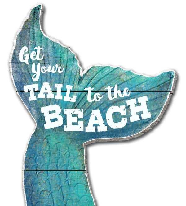 Oak Patch Gifts Coastal: Wooden Magnet: Get Your Tail to the Beach
