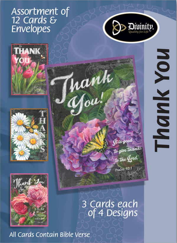Divinity Boutique Boxed Cards: Thank You-Chalk Flowers & Butterflies