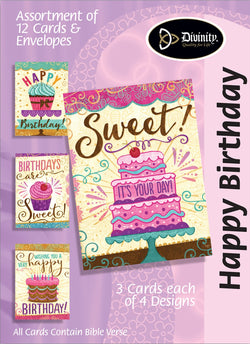 Divinity Boutique Boxed Cards: Happy Birthday-Cakes & Cupcakes