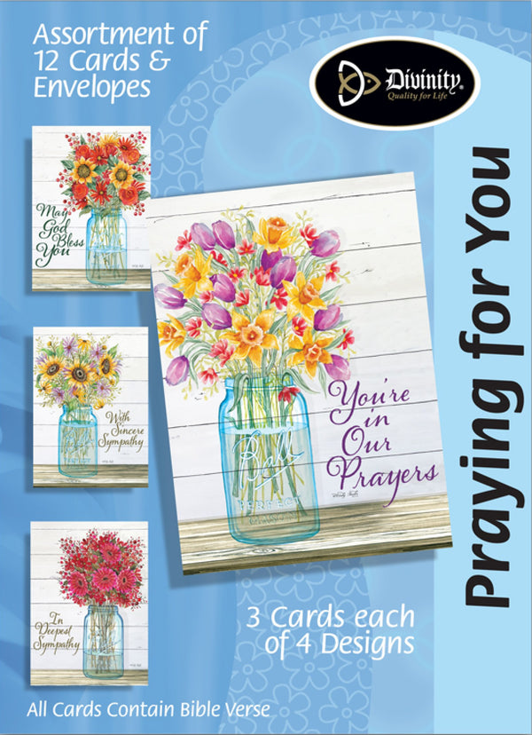 Divinity Boutique Boxed Cards: Sympathy-Mason Jar, Flowers