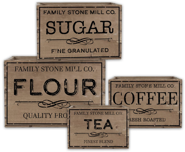 Oak Patch Gifts Vintage Kitchen: Stone Mill Advertising Boxes (4 boxes)
