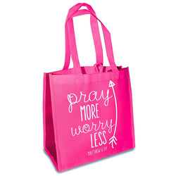 "Our Eco Tote reusable shopping bags feature an inspirational sentitment/scripture verse. Bags fold flat, can hold up to 20 pounds & have a small loop for hanging. Perfect for groceries, Bible study or as an everyday bag! Reusable shopping bags with contrasting side accent colors. Holds up to 20 lbs. Dimensions: 12. 5"" x 6"" x 12"". Small loop for hanging. Material: Nylon."