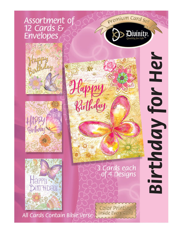 Divinity Boutique Boxed Cards: Birthday Floral & Butterflies w/Gold Accents
