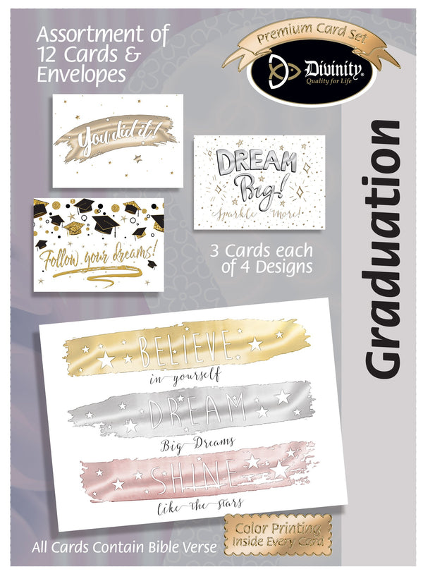 Divinity Boutique Boxed Cards: Graduation Metallic Accents, Glitter