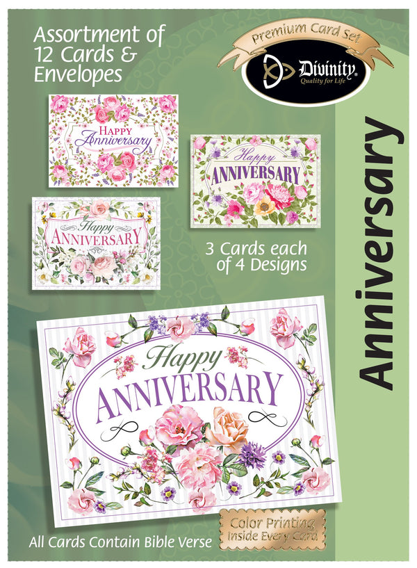 Divinity Boutique Boxed Cards: Anniversary Floral Sprays & Traditional Wording