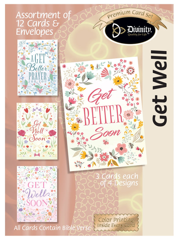 Divinity Boutique Boxed Cards: Get Well Folk Art Florals