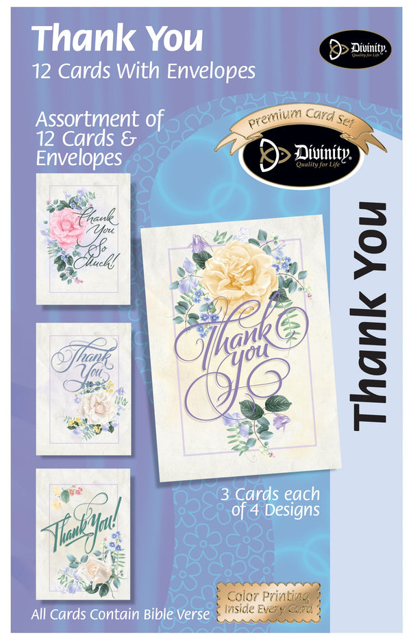 Divinity Boutique Boxed Cards: Thank You Script Fonts & Roses