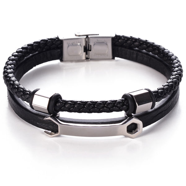Wrenched Leather Bracelet
