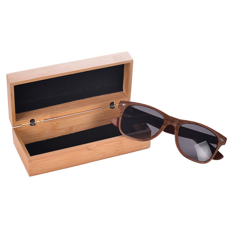 Wood Wayfarers Sunglasses with Bamboo Case - Mad Man by Mad Style Wholesale