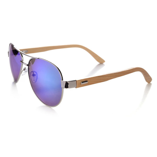 Aviators with Bamboo Arms Sunglasses - Mad Man by Mad Style Wholesale