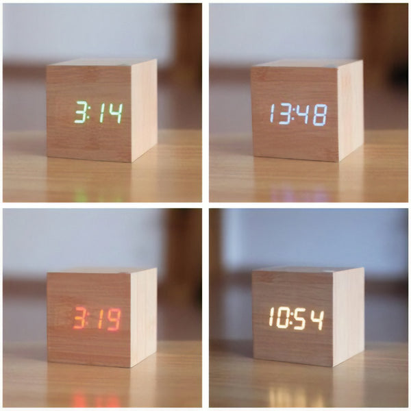 Square Wood Digital Desk Clock - Mad Man by Mad Style Wholesale