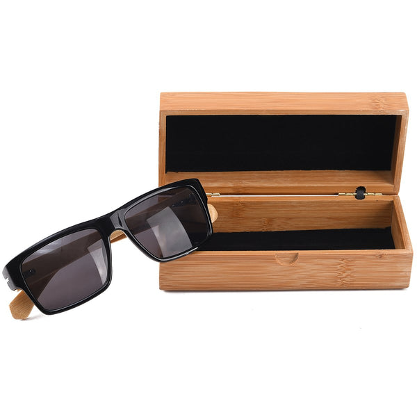 Bamboo Wayfarers Sunglasses with Bamboo Case - Mad Man by Mad Style Wholesale