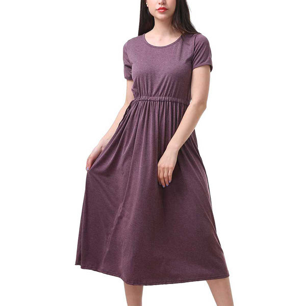 Heather Purple Cap Sleeve Drawstring Waist Dress