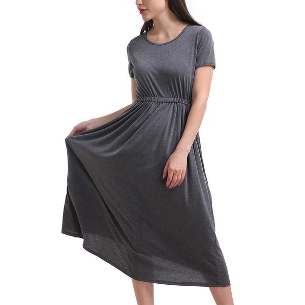 Cap Sleeve Drawstring Waist Dress