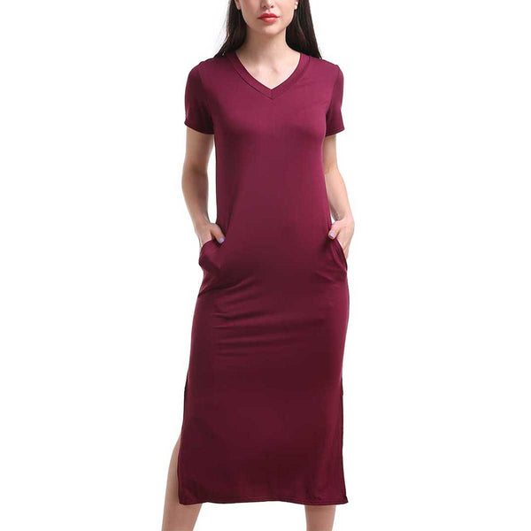 One Size Side Slit Pocket Tunic Dress
