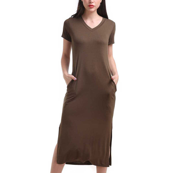 One Size Heather Olive Side Slit Pocket Tunic Dress