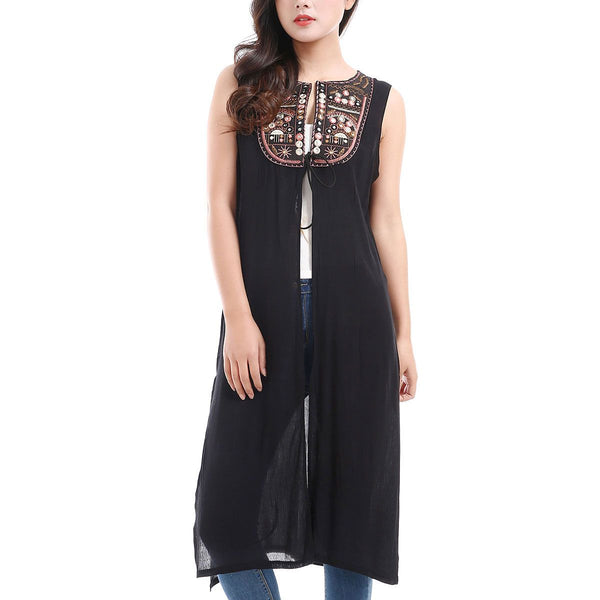 Sleeveless Embroidered Duster