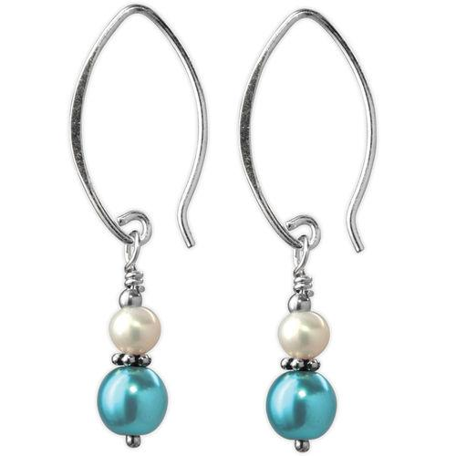 Jody Coyote Fifth Avenue Mini Metallic Teal and White Earring