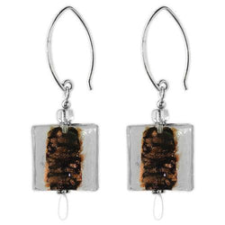 Jody Coyote Rio Artisan Clear Square and Copper Earring
