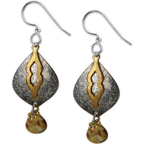 Jody Coyote Etched in Time Silver Pear Shape with Brass and Smokey Color Bead Drop Earring