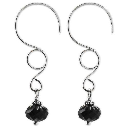 Jody Coyote Sonata Wire with Smoky Black Bead Earring