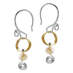 Jody Coyote Sonata Small Brass Circle with White Bead and Squiggle Earring