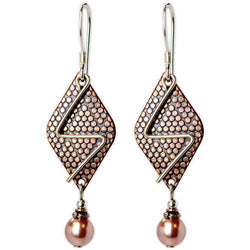Jody Coyote Arbor GatesBrass Hammered Metal with and Squiggle and Pink Pearl Earring
