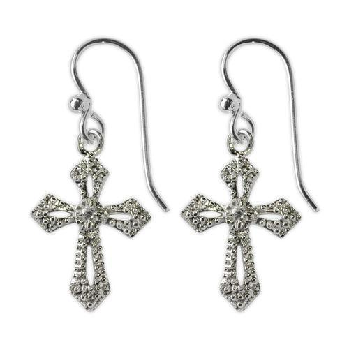Jody Coyote Naromi All Clear Cubic Zirconia Stone Open Cross Earring