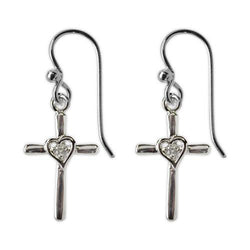 Jody Coyote Tiny Blessings Small Silver Cross with Open Heart In Center with Cubic Zirconia Earring