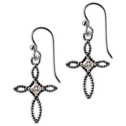 Jody Coyote Divine Clear Cubic Zirconia Antique Open Cross Earring
