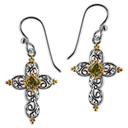 Jody Coyote Splendor Silver Open Heart with Gold and Olivine Cubic Zirconia Earring
