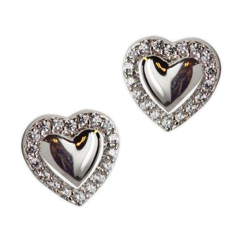 Jody Coyote Guardian Heart Small Solid Heart Post with Cubic Zirconia Earring Earring