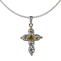 Jody Coyote Splendor Silver Open Heart with Gold and Olivine Cubic Zirconia Necklace