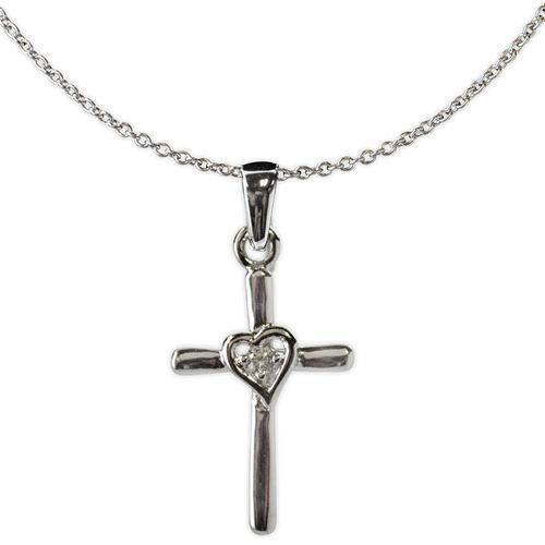 Jody Coyote Tiny Blessings Small Silver Cross with Open Heart In Center with Cubic Zirconia Necklace
