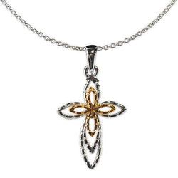 Jody Coyote Distinction Silver/Gold Raised Open Design Cross Necklace