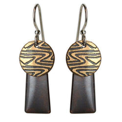 Jody Coyote Desert Tracks Bronze Circle Drops Earring