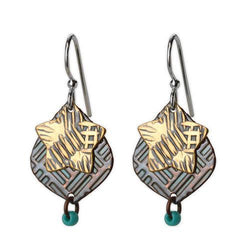 Jody Coyote Desert Tracks Bronze Stars with Backplates Earring