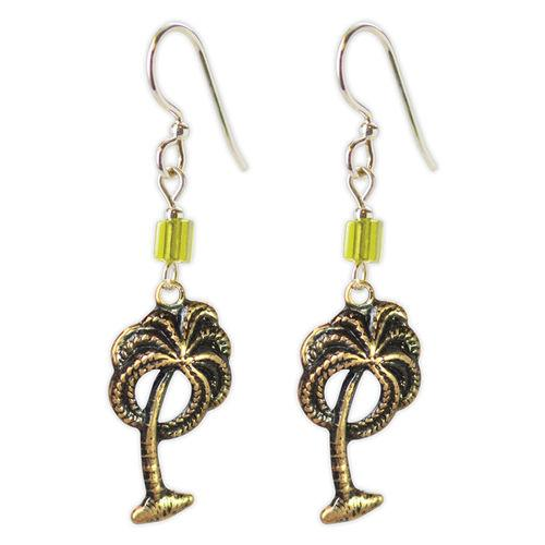 Jody Coyote Resort Gold Palm Trees Green Bead Earring