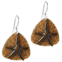 Jody Coyote Coastal Dunes Bronze Starfish On Sandy Backplate Earring