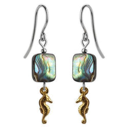 Jody Coyote Riviera Gold Seahorse with Abalone Beads Earring