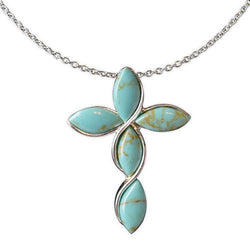 Jody Coyote Serenity Faux Turquoise Tear Drop Shaped Cross Necklace