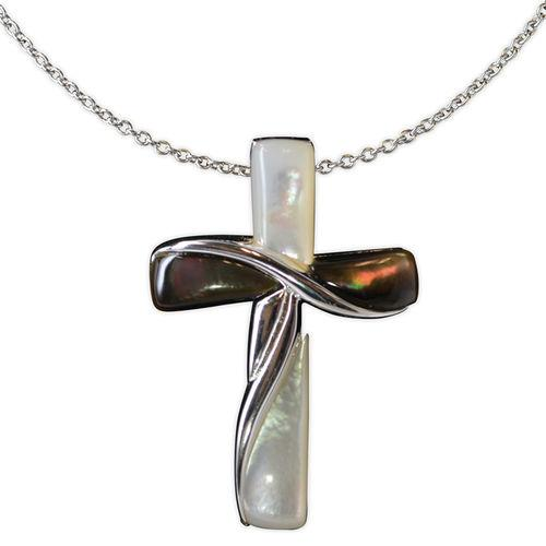 Jody Coyote Serenity White Mother Of Pearl and Horizontal Dark Shell Cross Necklace