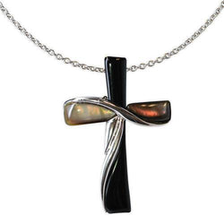 Jody Coyote Serenity Black and Dark Shell Cross Necklace